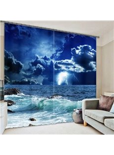 Dark Night and Blue Sky with Storm Printing Thick Polyester Decorative Custom 3D Curtain