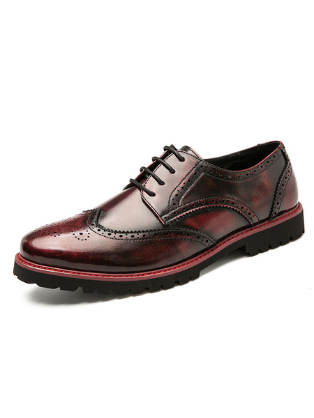 Milanoo Man\'s Dress Shoes Round Toe Brown Ombre Strap Adjustable PU Leather Oxfor Shoes Party Shoes