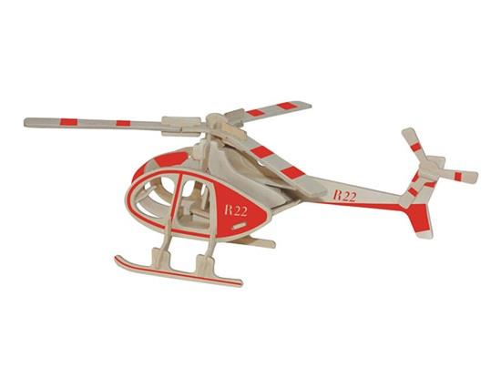 Mini Painted Robinson Helicopter Model 3D DIY Wooden Plane Puzzles Safe Friendly-environmental Simulatio