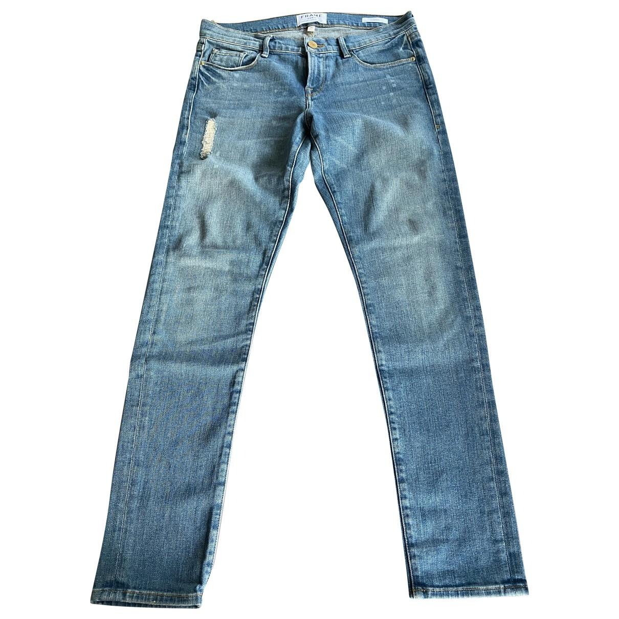 Frame Denim \N Blue Cotton - elasthane Jeans for Women 26 US