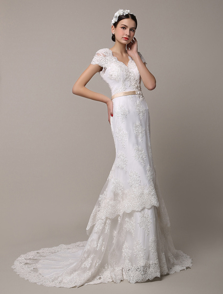 Milanoo Short Sleeve Tiered Mermaid Lace Wedding Dress with Court Train