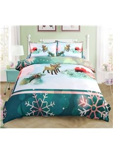 Vivilinen Christmas Ornaments and Snowflake Printed 4-Piece 3D Green Bedding Sets/Duvet Covers