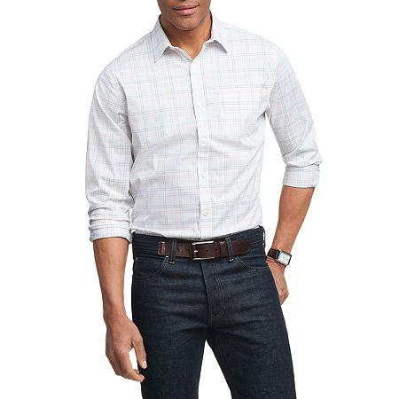 Van Heusen Long Sleeve Traveler Non Iron Stretch Shirt, Large , Blue