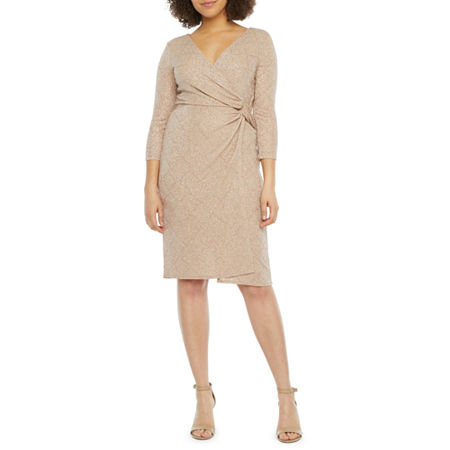 Blu Sage 3/4 Sleeve Glitter Knit Sheath Dress, 8 , Pink