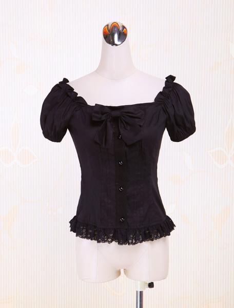 Milanoo Cotton Black Puff Sleeves Lolita Blouse