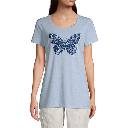 St. John's Bay-Womens Crew Neck Short Sleeve T-Shirt, X-large , Blue