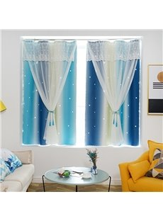 Romantic Style Beautiful Cloth and Voile Sewing Together 2 Panels Blackout Curtains