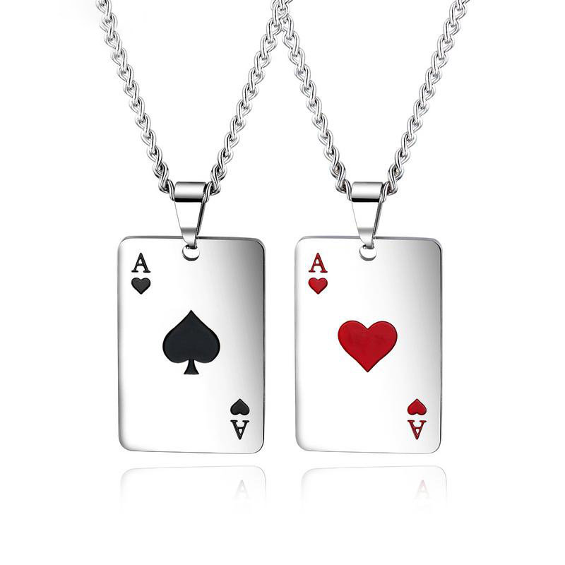 Trendy Playing Card Square Pendants Necklace Spades A Titanium Steel Couple Chain Necklace