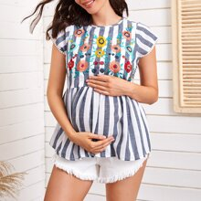 Maternity Floral Embroidery Striped Peplum Top