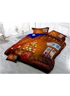 Luxury Christmas Tree Wear-resistant Breathable High Quality 60s Cotton 4-Piece 3D Bedding Sets