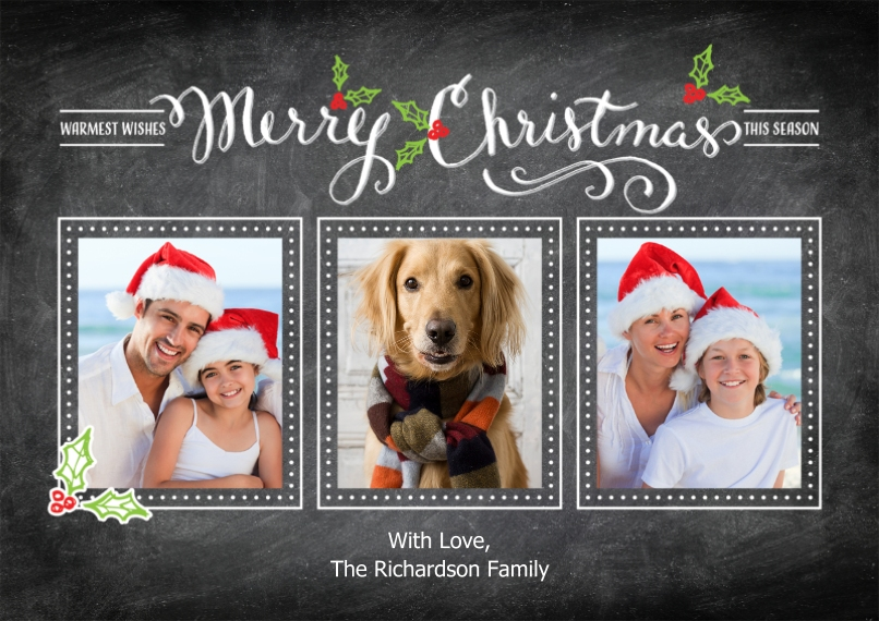 Christmas Photo Cards Flat Glossy Photo Paper Cards with Envelopes, 5x7, Card & Stationery -Christmas Calligraphy Collage