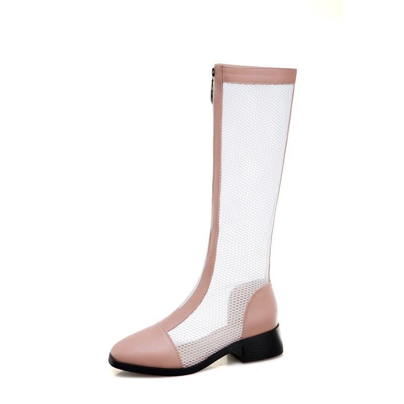 Ericdress Block Heel Front Zipper Round Toe PU Boots