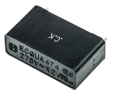 Panasonic 470nF Polypropylene Capacitor PP 275V ac ±10% Tolerance Through Hole ECQUA Series (5)