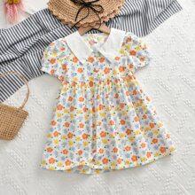 Toddler Girls Allover Floral Print Shirt Dress