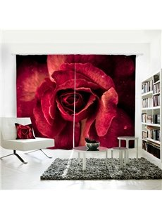 3D Romantic Rose Red Polyester Blackout Curtains for Living Room and Valentine's Decoration Bold Graphics Printed with the Art Digital Printing Techno
