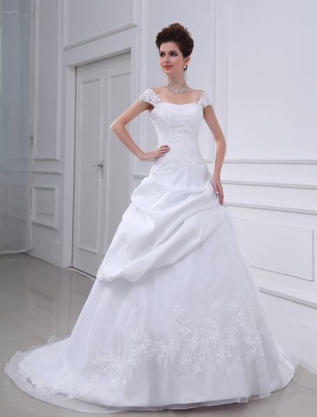 Milanoo White Wedding Dress Off The Shoulder Bridal Gown Lace Beading Sequin Ruched Dropped Waist Bridal Dress With Train