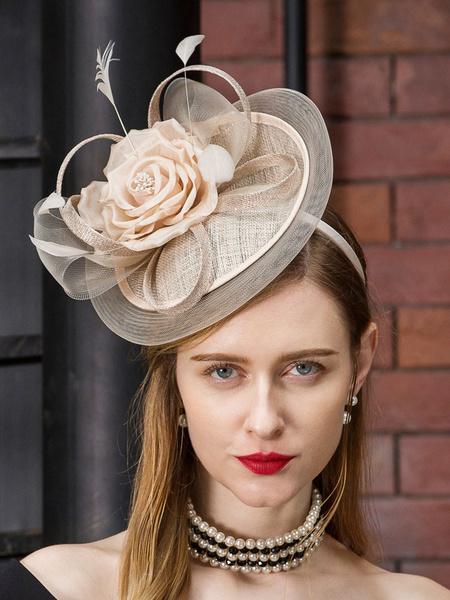 Milanoo Champagne Vintage Hat Women Cap Headband Retro Costume Hair Accessories