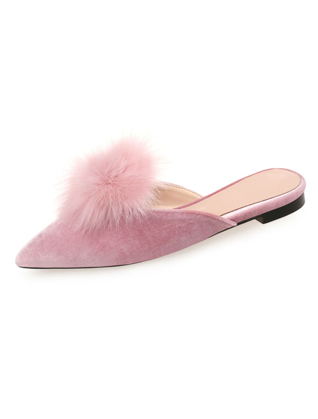 Milanoo Women Flat Mules Pink Velvet Pointed Toe Backless Mule Shoes With Pom Poms