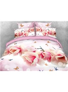 Pink Magnolia and Butterflies Duvet Cover 3D Printed 4-Piece Floral Bedding Sets