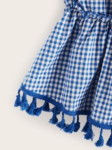 Fringe Knotted Gingham Tank Top