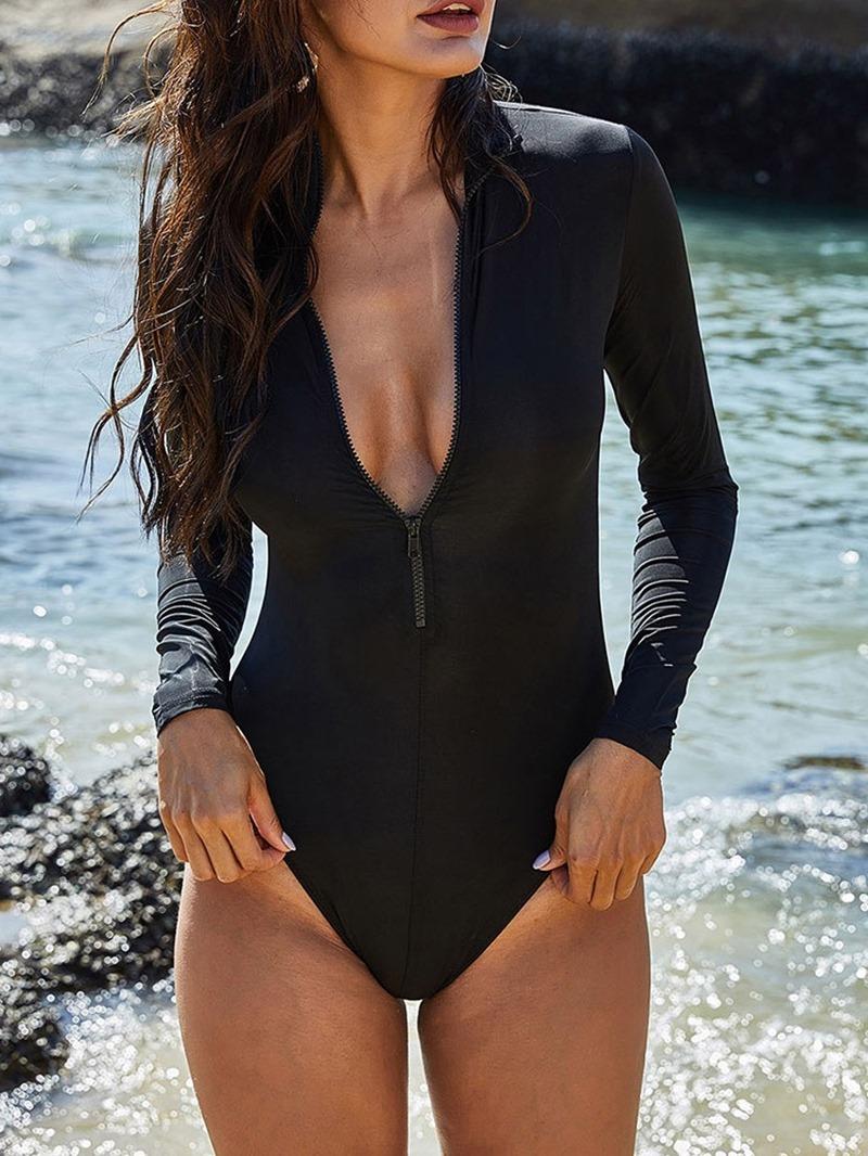 Ericdress Women's Sexy One Piece Plain Slim Swimwear