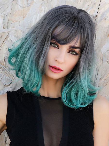 Milanoo Synthetic Wigs Teal Pixies & Boycuts Rayon Tousled Short Girl\'s Women Short Wig