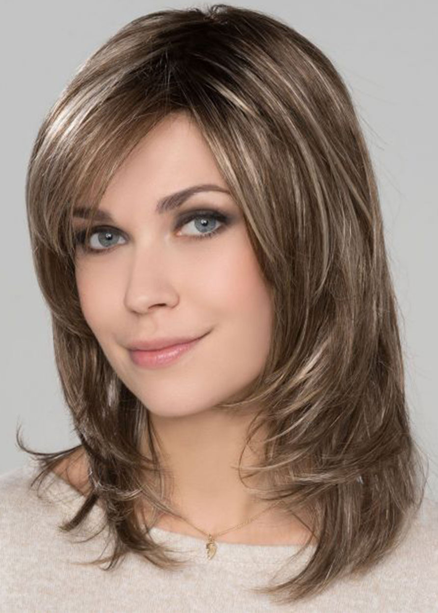 Human Hair Women Lace Front Cap Natural Straight 14 Inches 120% Wigs Heat Resistant Natural Looking Daily Party Wigs Cosplay Wigs with Natural Bangs w