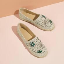 Faux Pearl & Gemstone Decor Espadrille Flats