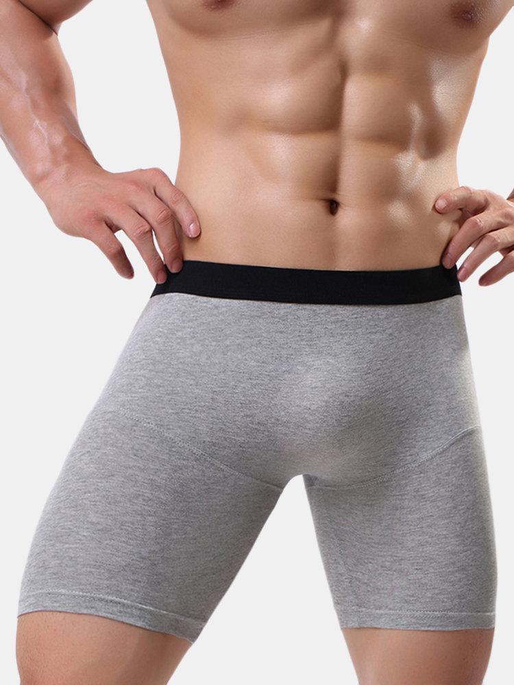 Mens Comfortbale 100%Cotton Boxer Briefs Breathable Widen Waistband U Convex Trunks