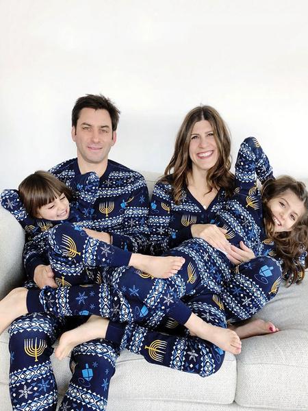 Milanoo Family Christmas Pajamas Christmas Pattern Blue Family Jumpsuit