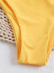 Tropical Knot Hem Bikini Swimsuit