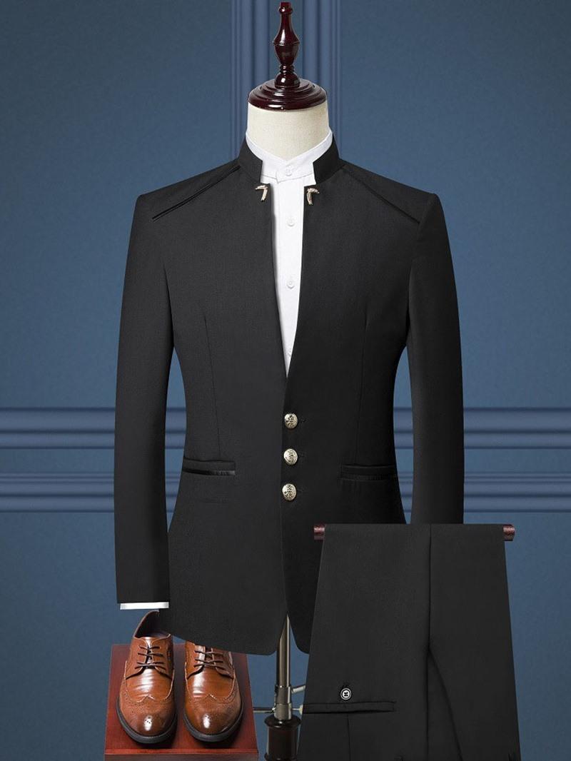 Ericdress Fashion Plain Pocket Mens Dress Suit