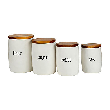 Certified International Just Words 4-pc. Canister, One Size , White