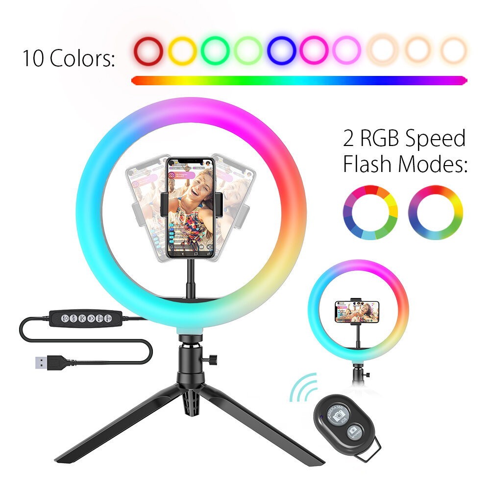 10Inch RGB LED Ring Light Dimmable Selfie Ring Lamp for YouTube Tiktok Live Stream Makeup With Tripod Phone Holder