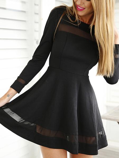 Yoins Black Mesh Details Round Neck Long Sleeves Mini Dress