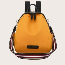 Letter Patch Curved Top Backpack