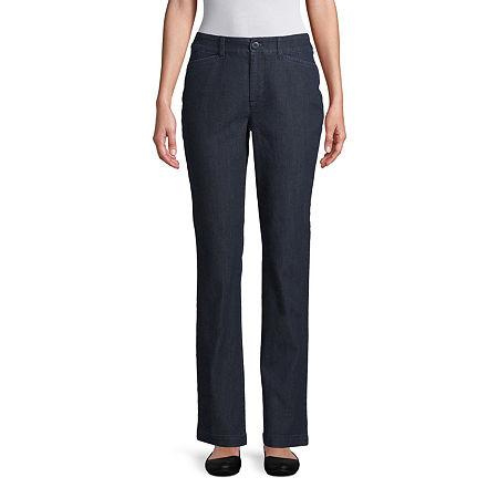 St. John's Bay Womens Mid Rise Straight Flat Front Pant, 6 , Blue