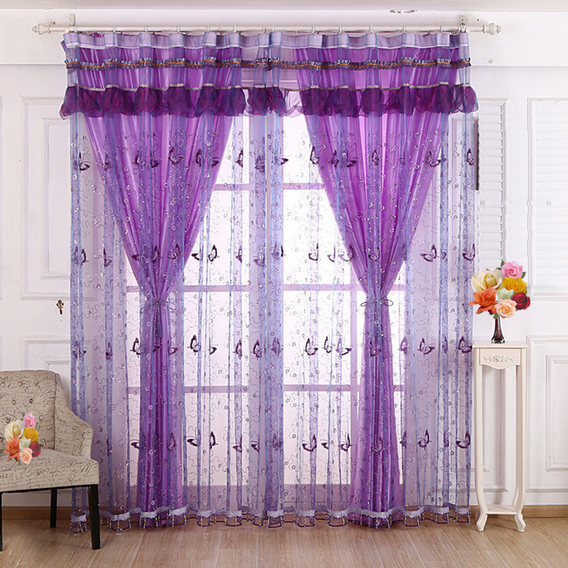 Butterfly Embroidered Custom 2 Panels Sheer Curtains for Living Room Breathable Princess Drapes No Pilling No Fading No off-lining