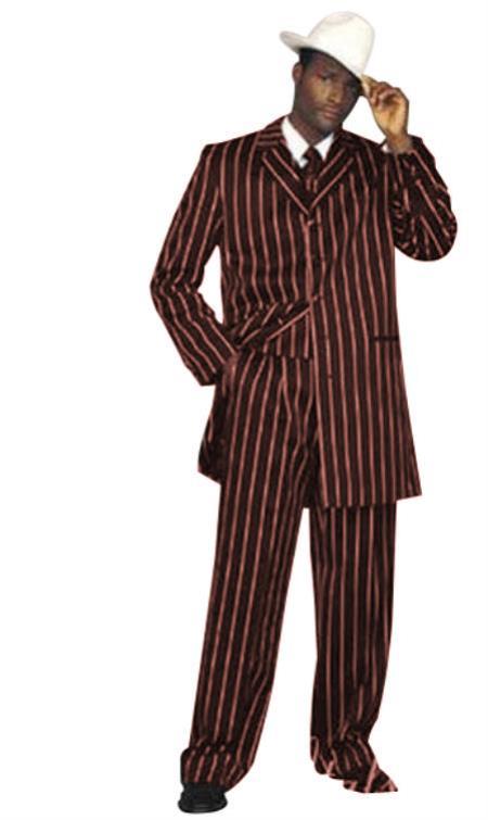 Men's Dark Burgundy High Bold Pronounce White Three Piece Zoot Suit