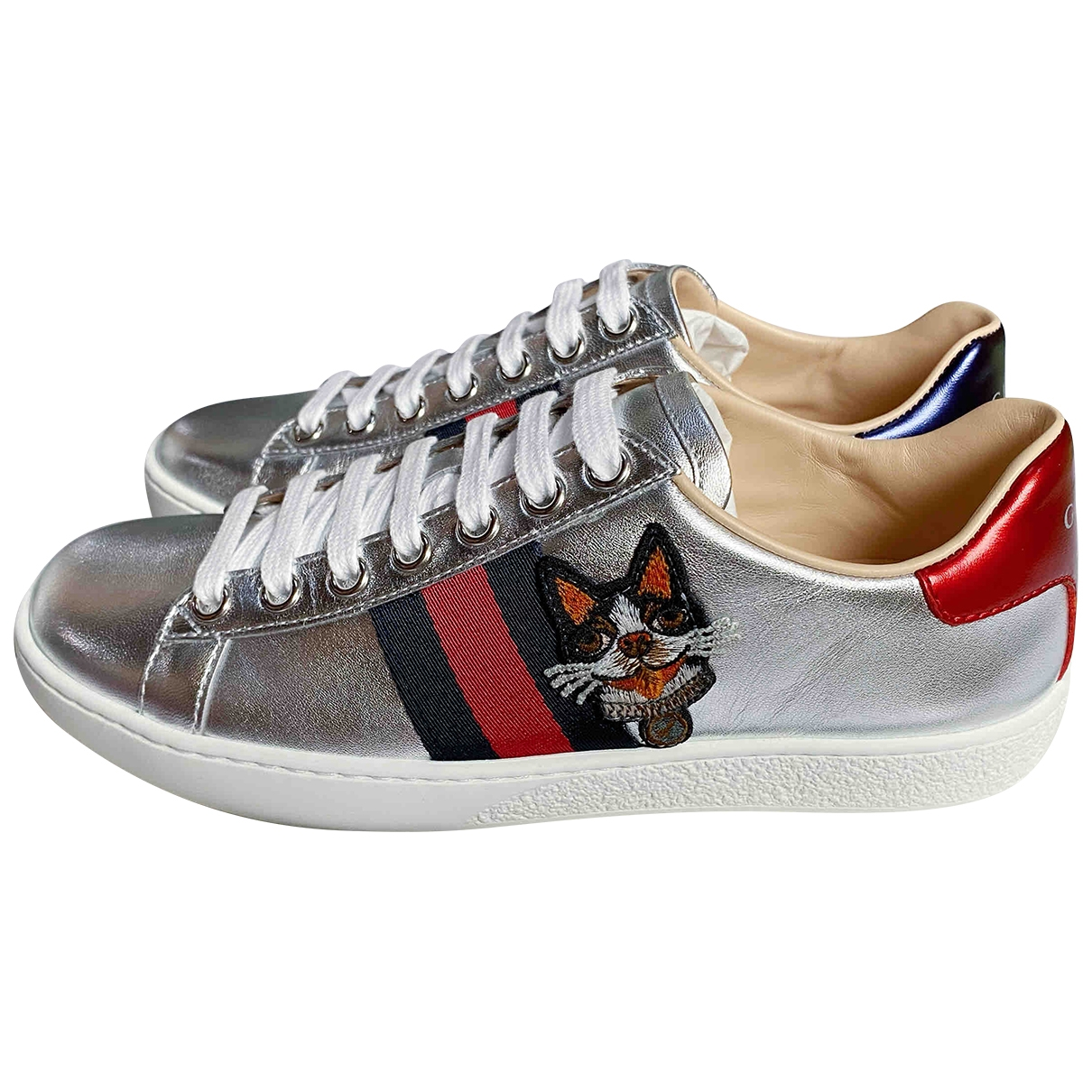 Gucci Ace Silver Leather Trainers for Women 34.5 IT