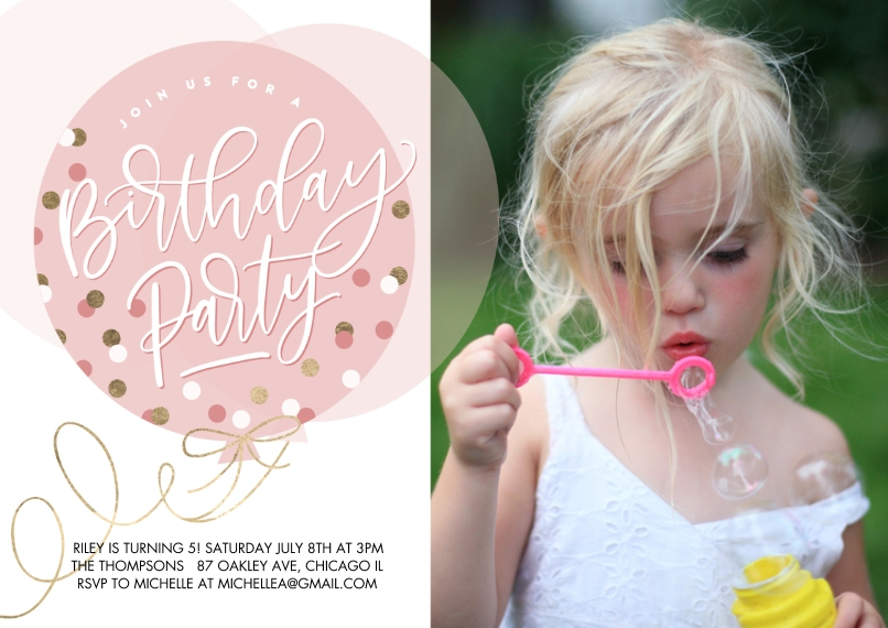Kids Birthday Party 5x7 Cards, Premium Cardstock 120lb with Scalloped Corners, Card & Stationery -Birthday Party Dots Balloon by Tumbalina (5x7)