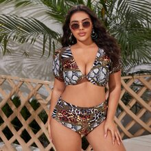 Plus Animal & Chain Print Knot Bikini Swimsuit