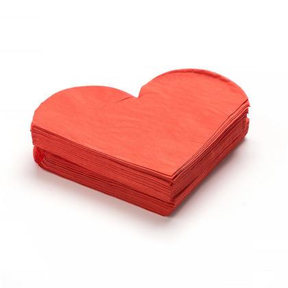 Rouge en Forme de Coeur, Serviettes 33*33CM 2ply*50 Pcs LivingBasics™