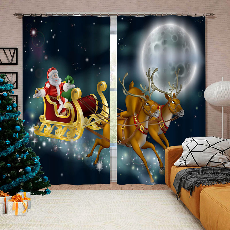 3D Christmas Printed Blackout Decorative Window Curtains Custom 2 Panels Drapes No Pilling No Fading No off-lining