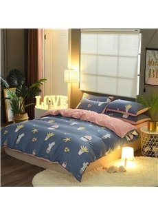 Cactus Printing Blue and Pink Double Fabric Cotton 4-Piece Bedding Sets/Duvet Cover