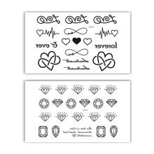 Diamond Gem & Heart Pattern Tattoo Stickers 2sheets