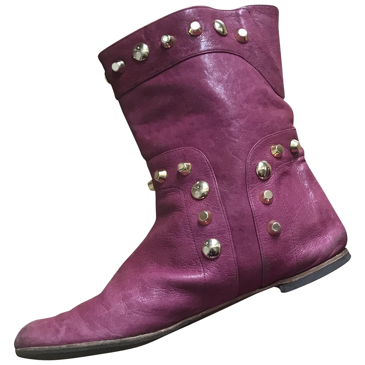 Non Signé / Unsigned \N Pink Leather Ankle boots for Women 37 EU