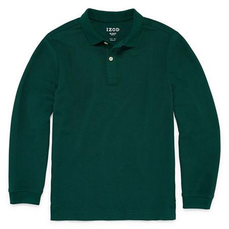 IZOD Pique Little & Big Boys Long Sleeve Stretch Polo Shirt, Large , Green