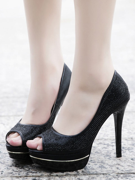 Milanoo Women Peep Toe Heels Stiletto Heel Chic Modern Women\'s Sexy Pumps