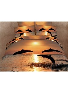 Strong and Vigorous Dolphin in the Setting Sun Cotton Fitted Sheet